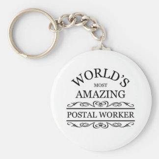 World's most amazing Postal Worker Basic Round Button Keychain