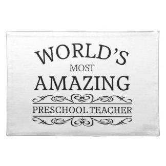 World's most amazing preschool teacher cloth placemat