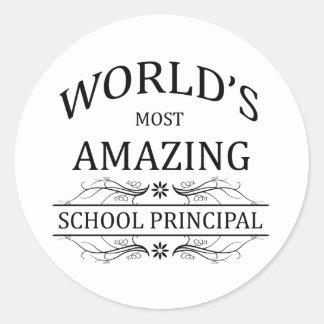 World's Most Amazing School Principal Classic Round Sticker