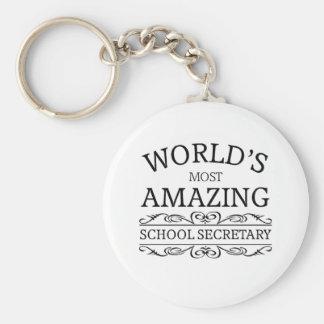 World's most amazing school secretary basic round button keychain