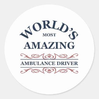 World's most Ambulance Driver Classic Round Sticker