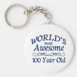 World's Most Awesome 100 Year Old Basic Round Button Keychain