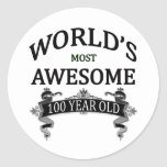 World's Most Awesome 100 Year Old Classic Round Sticker