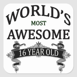 World's Most Awesome 16 Year Old Square Sticker