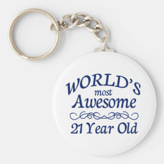 World's Most Awesome 21 Year Old Basic Round Button Keychain