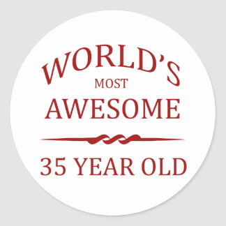 World's Most Awesome 35 Year Old Classic Round Sticker