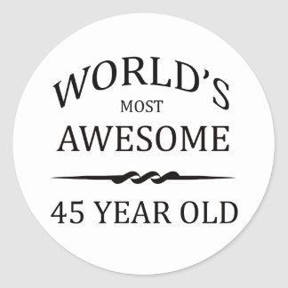 World's Most Awesome 45 Year Old Classic Round Sticker