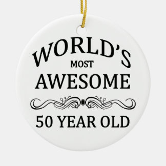World's Most Awesome 50 Year Old Double-Sided Ceramic Round Christmas Ornament