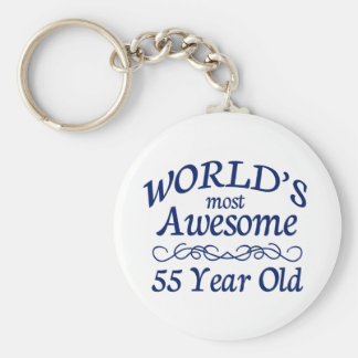 World's Most Awesome 55 Year Old Basic Round Button Keychain
