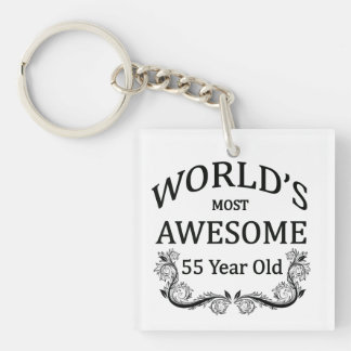 World's Most Awesome 55 Year old Single-Sided Square Acrylic Keychain