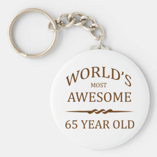 World's Most Awesome 65 Year Old Basic Round Button Keychain