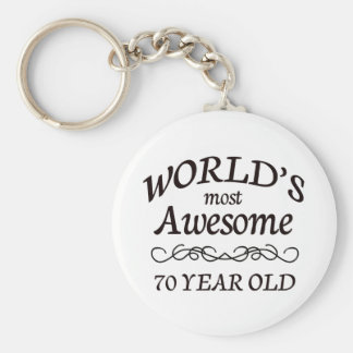 World's Most Awesome 70 Year Old Basic Round Button Keychain