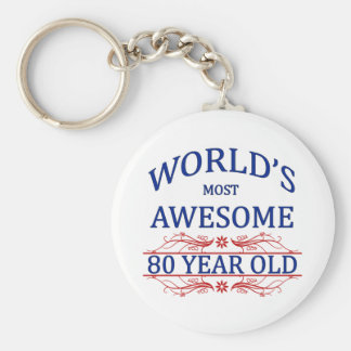 World's Most Awesome 80 Year Old Basic Round Button Keychain