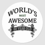 World's Most Awesome 80 Year Old Classic Round Sticker