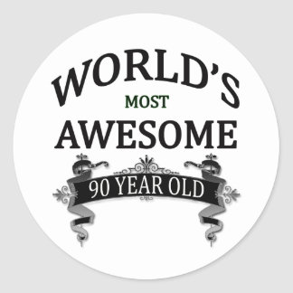 World's Most Awesome 90 Year Old Classic Round Sticker