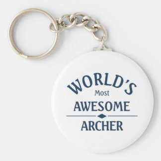 World's most awesome Archer Basic Round Button Keychain