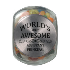World's Most Awesome Assistant Principal Glass Candy Jar at Zazzle