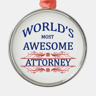 World's Most Awesome Attorney Round Metal Christmas Ornament