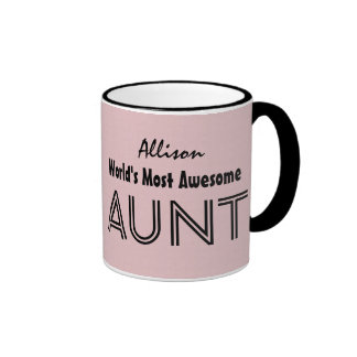 World's Most Awesome AUNT Custom Pink Gift Item 02 Ringer Coffee Mug