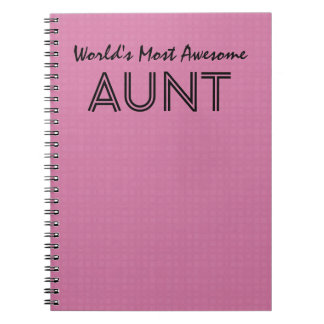 World's Most Awesome AUNT Pink Squares Pattern Notebook