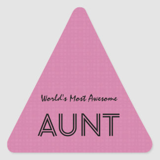 World's Most Awesome AUNT Pink Squares Pattern Triangle Sticker