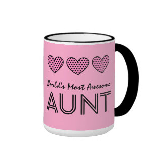 World's Most Awesome AUNT Polka Dot Hearts V01 Coffee Mugs