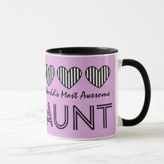 World's Most Awesome AUNT STRIPED Hearts V15 Mug