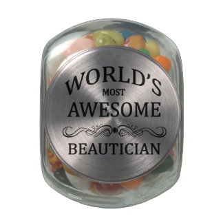 World's Most Awesome Beautician Glass Candy Jar