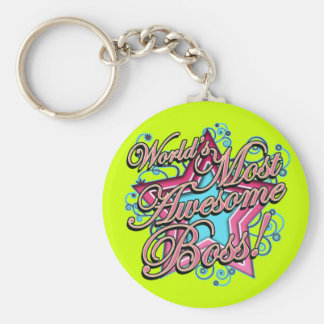 Worlds Most Awesome Boss Basic Round Button Keychain