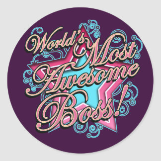 Worlds Most Awesome Boss Classic Round Sticker