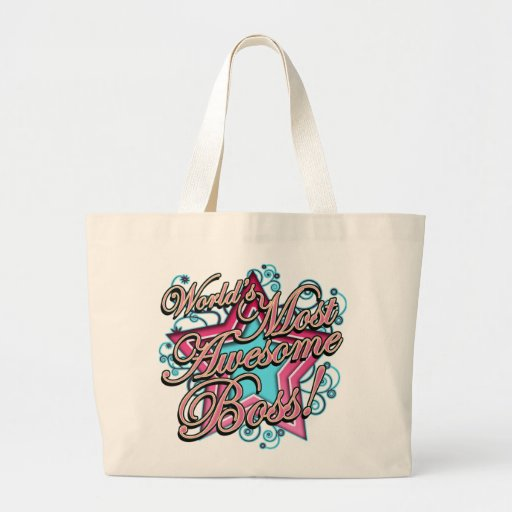Worlds Most Awesome Boss Jumbo Tote Bag