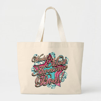 Worlds Most Awesome Boss Large Tote Bag