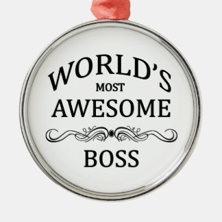 World's Most Awesome Boss Round Metal Christmas Ornament