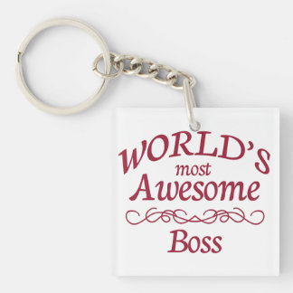 World's Most Awesome Boss Single-Sided Square Acrylic Keychain