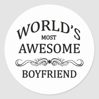 World's Most Awesome Boyfriend Classic Round Sticker