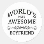 World's Most Awesome Boyfriend Round Sticker