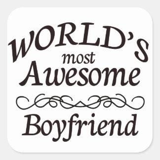 World's Most Awesome Boyfriend Square Sticker