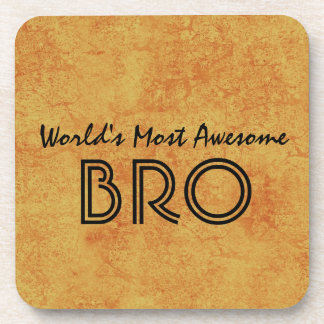 World's Most Awesome BRO Gold Grunge Gift Set Coaster