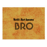 World's Most Awesome BRO Gold Grunge Gift Set Postcard