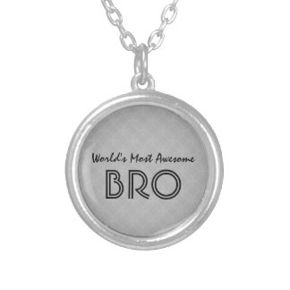 World's Most Awesome Bro Gray Geometric Silver Plated Necklace