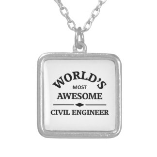 World's most awesome civil engineer silver plated necklace
