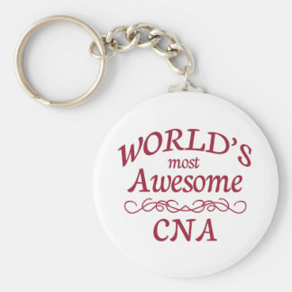 World's Most Awesome CNA Basic Round Button Keychain