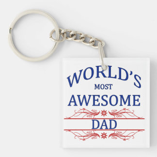 World's Most Awesome Dad Keychain