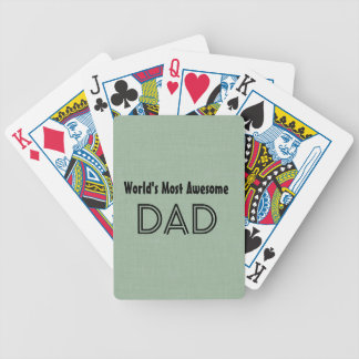 World's Most Awesome Dad SAGE GREEN Gift Item Bicycle Playing Cards