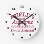 World's Most Awesome Dental Assistant Round Wall Clock