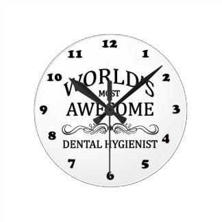 World's Most Awesome Dental Hygienist Round Wallclock
