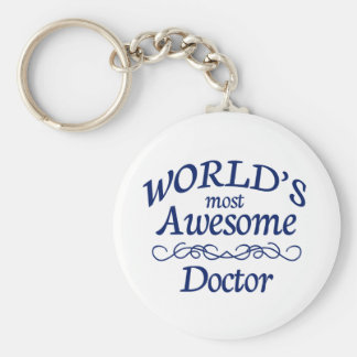 World's Most Awesome Doctor Basic Round Button Keychain