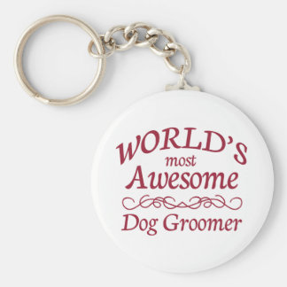 World's Most Awesome Dog Groomer Basic Round Button Keychain