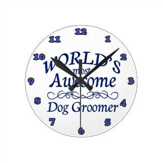 World's Most Awesome Dog Groomer Round Wallclocks