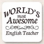 World's Most Awesome English Teacher Beverage Coaster